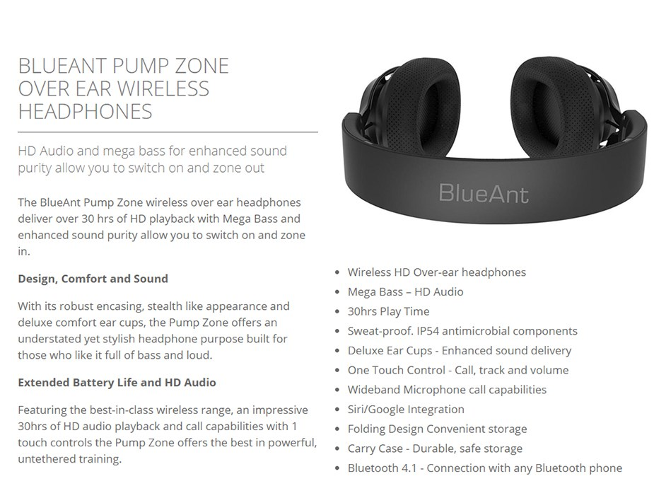 BlueAnt Pump Zone Bluetooth Headphones - Black - Desktop Overview 2