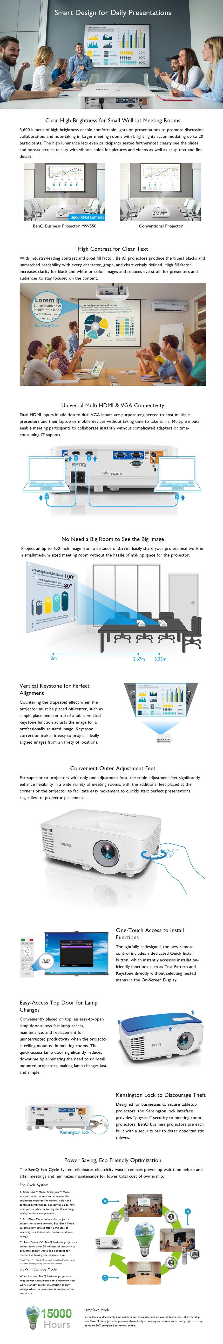 BenQ MW550 WXGA Business DLP Projector - Desktop Overview 1