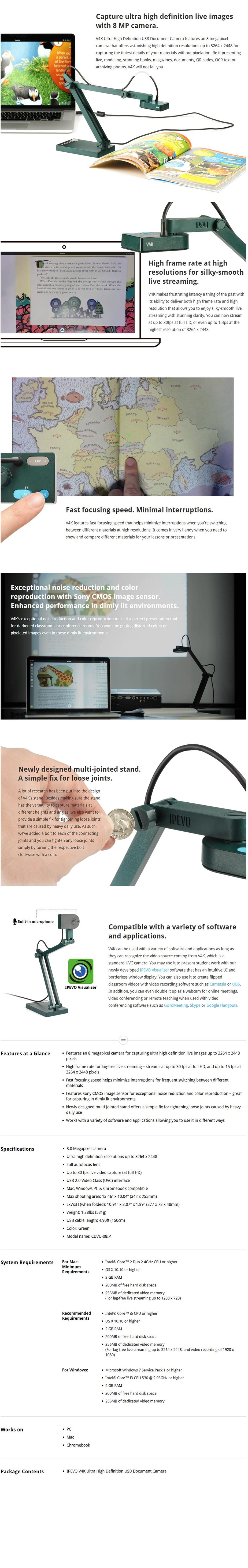 IPEVO V4K Ultra High Definition USB Document Camera - Desktop Overview