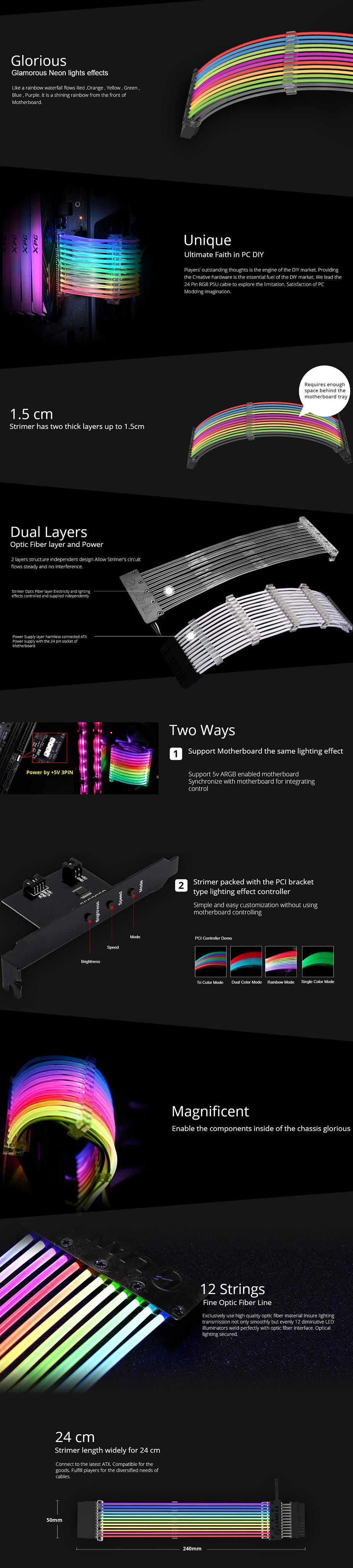 Lian-Li Strimer 24 Pin RGB PSU Extension Cable - Desktop Overview 2