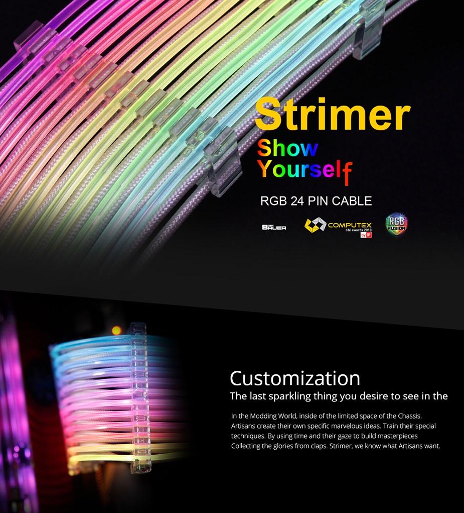 Lian-Li Strimer 24 Pin RGB PSU Extension Cable - Desktop Overview 1