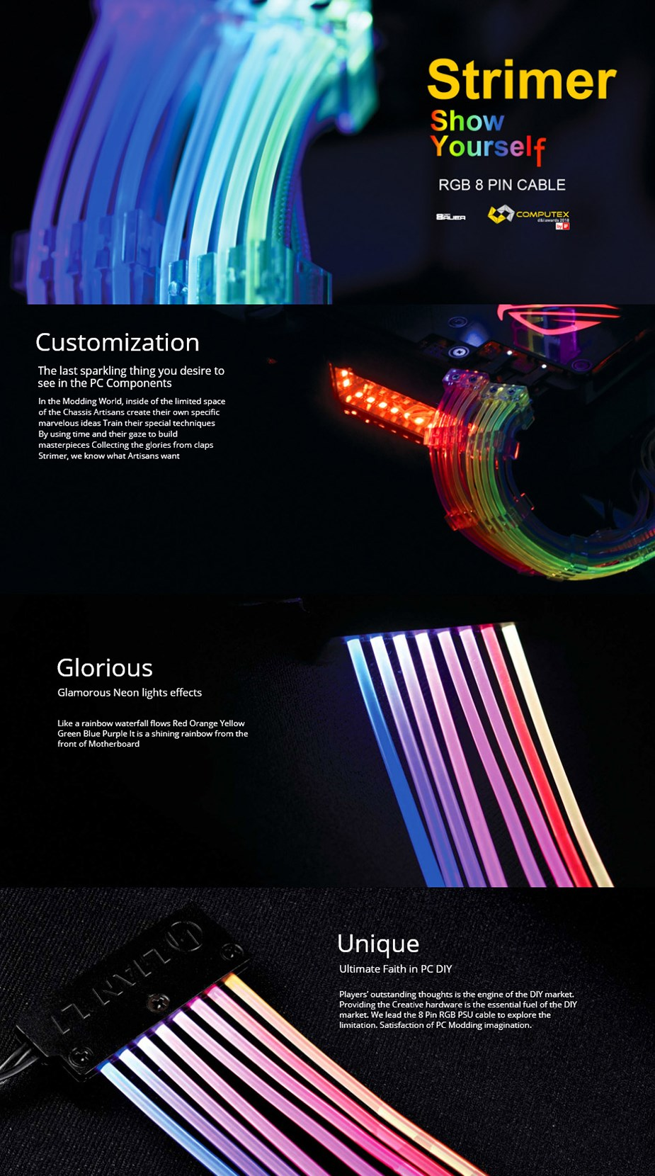 Lian-Li Strimer 8 Pin RGB PSU Extension Cable - Desktop Overview 1
