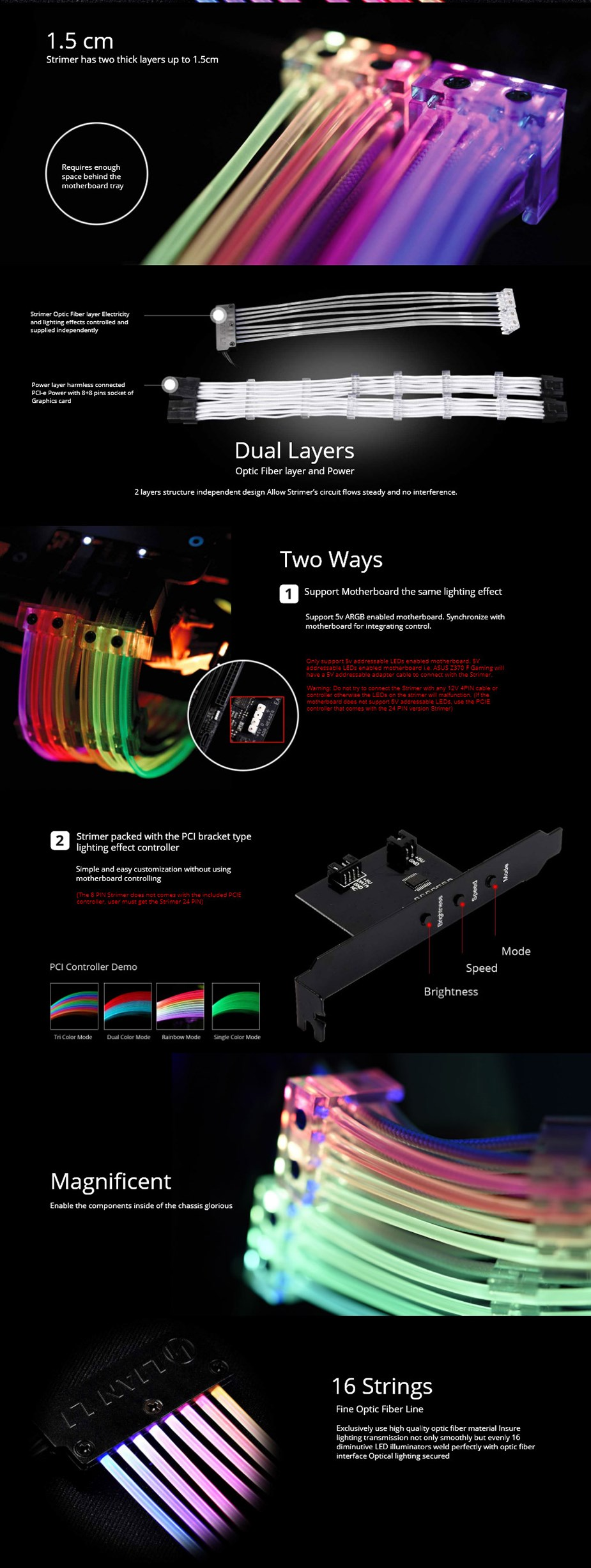 Lian-Li Strimer 8 Pin RGB PSU Extension Cable - Desktop Overview 2