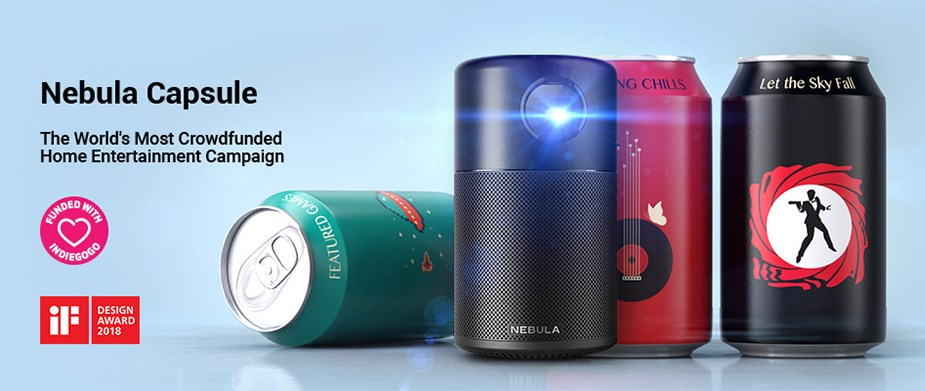 Anker Nebula Capsule FWVGA Portable Wireless DLP Projector - Limited Red Edition - Desktop Overview 1