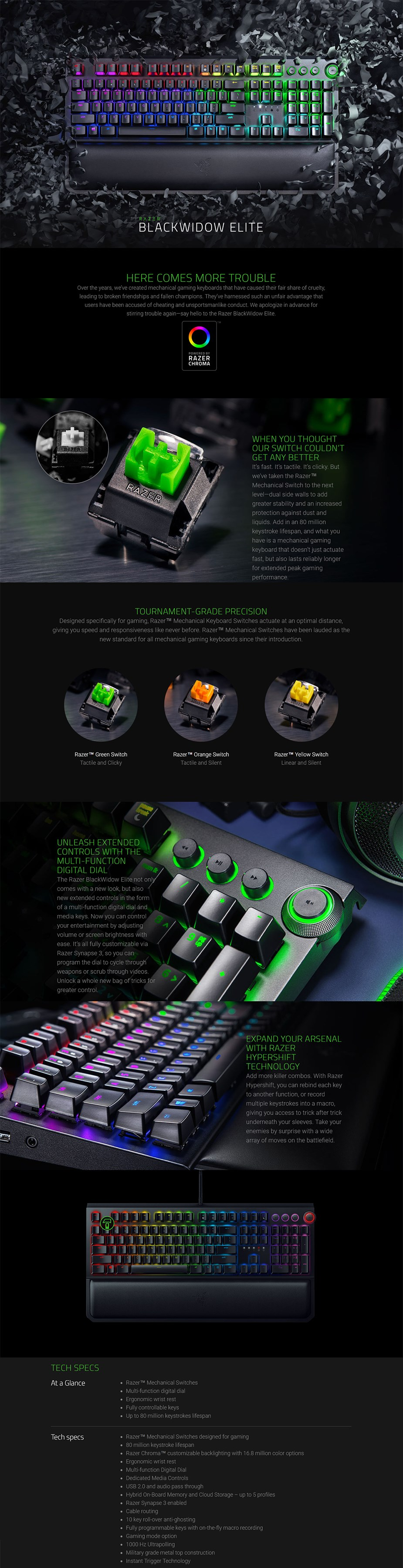 Razer BlackWidow Elite Mechanical Keyboard - Orange Switch - desktop overview