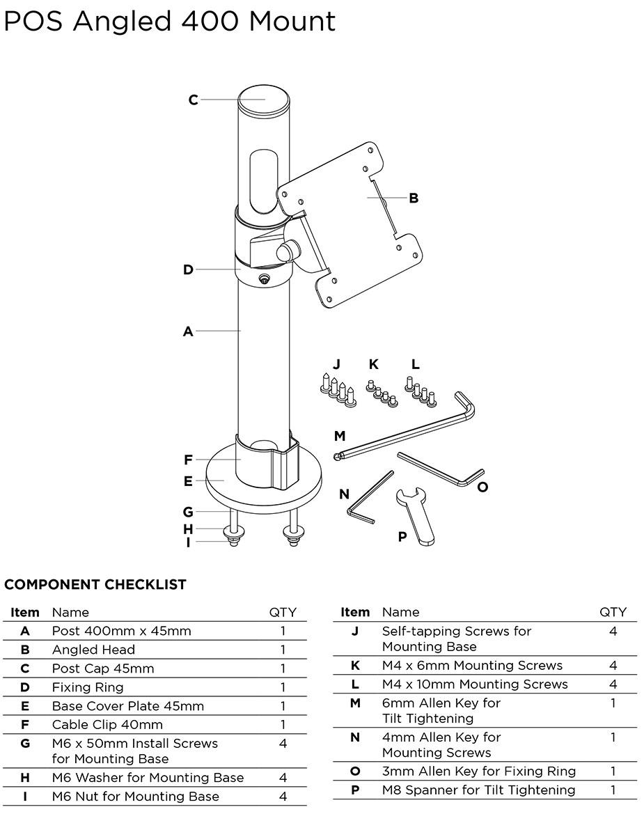 Atdec POS Angled Mount - 400mm - Desktop Overview