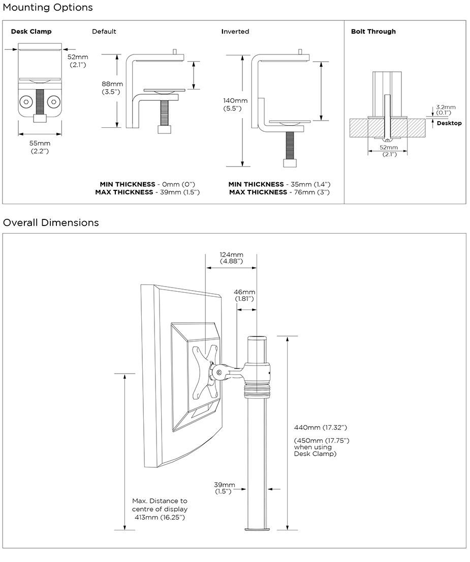 Atdec AF-M-P 440mm Desktop Monitor Mount - Desktop Overview 2