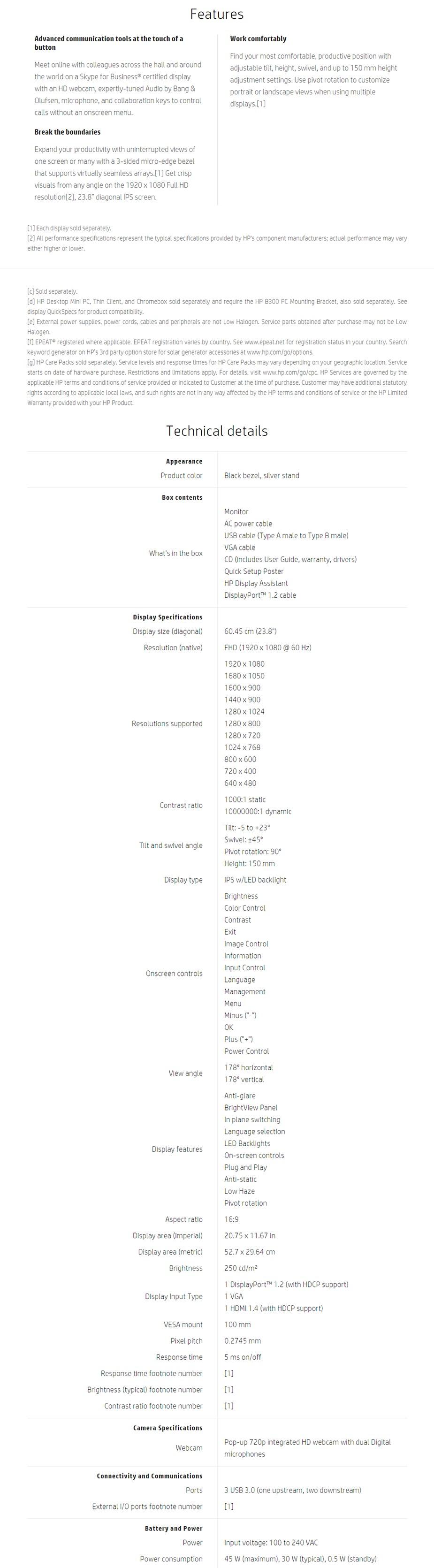 """HP EliteDisplay E243M 23.8"""" Full HD IPS LED Monitor - Desktop Overview 1"""