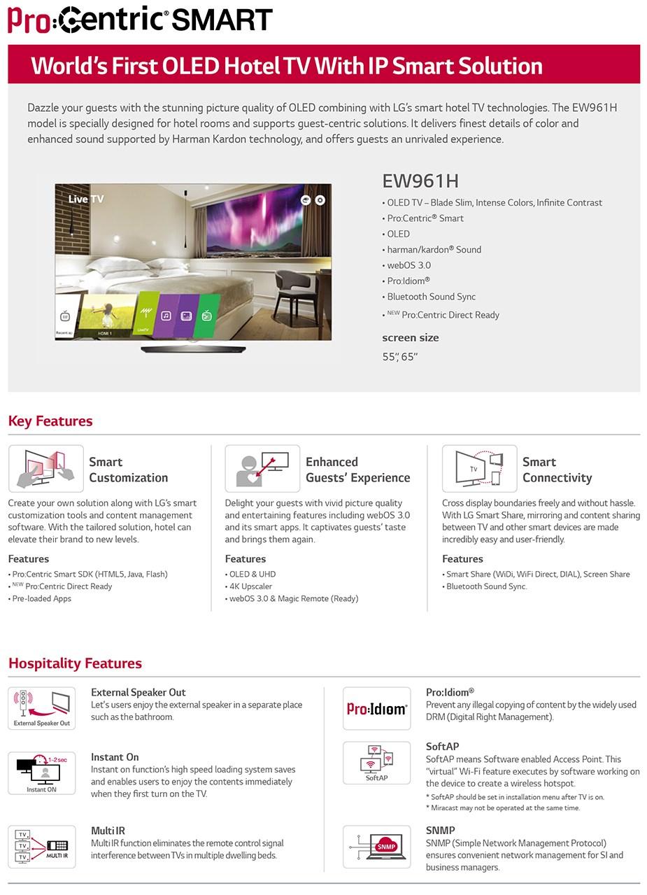 """LG EW961H 65"""" 4K UHD Commercial OLED TV - Desktop Overview 1"""