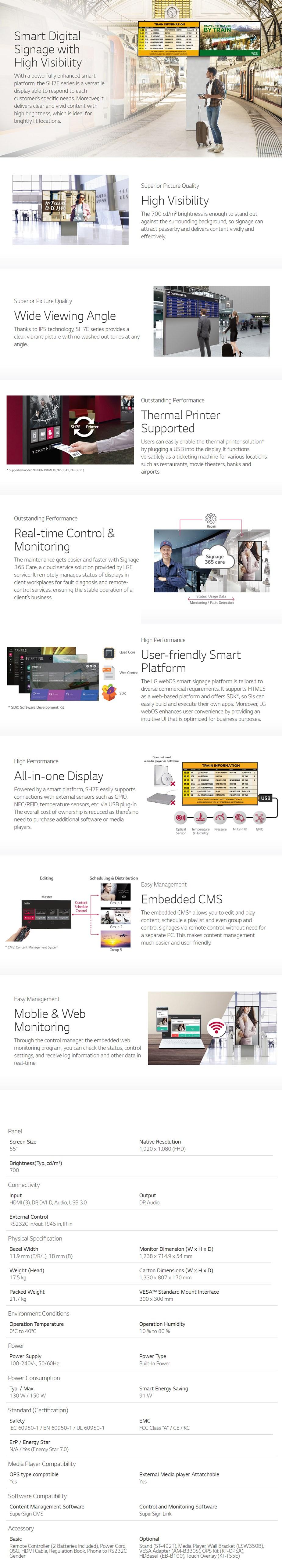 """LG SH7E 55"""" Full HD IPS LED Commercial Display - Desktop Overview 1"""