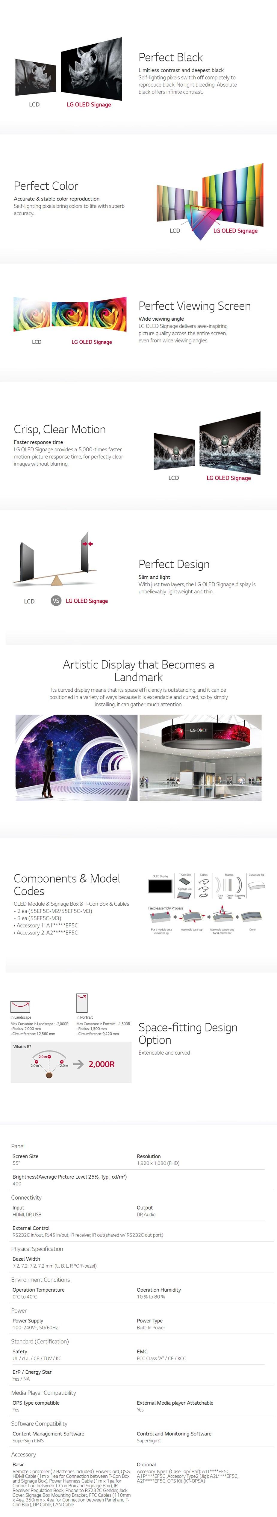 """LG EF5C 55"""" Curved Full HD Open Frame OLED Commercial Display - Desktop Overview 1"""