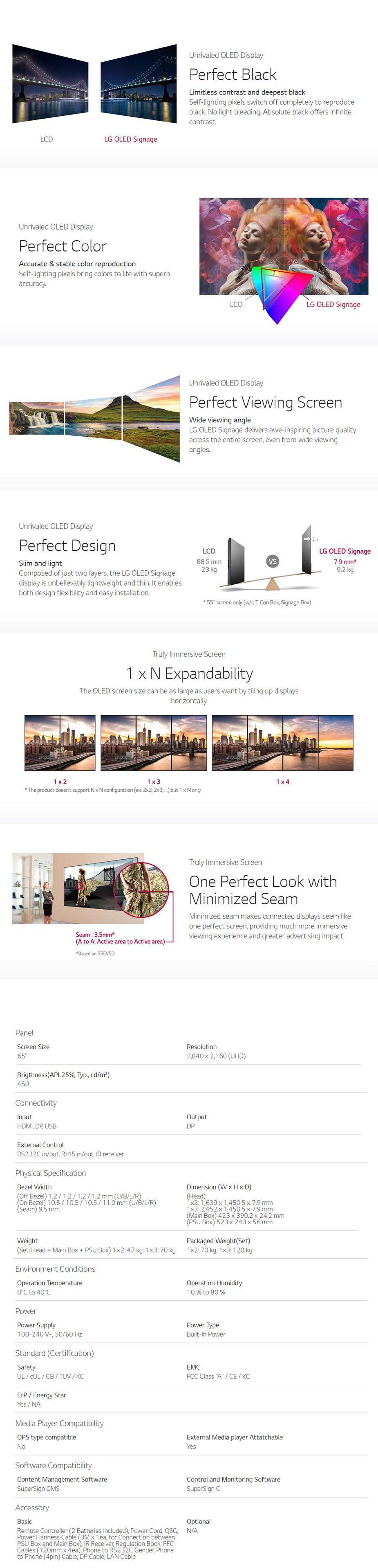 """LG EV5C 65"""" 4K UHD Video Wall OLED Signage - Desktop Overview 1"""