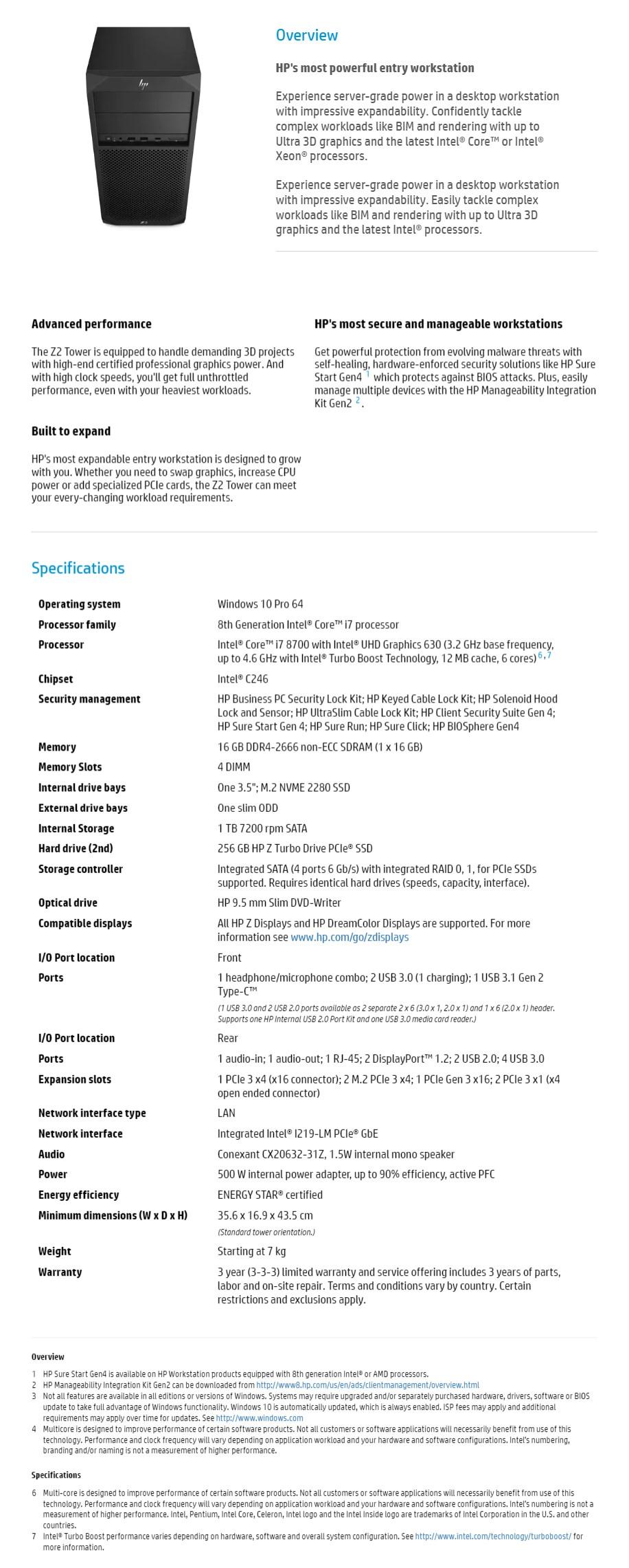 HP Z2 G4 Tower Desktop Workstation i7-8700 16GB 256GB+1TB P1000 Win10 Pro - Desktop Overview 1