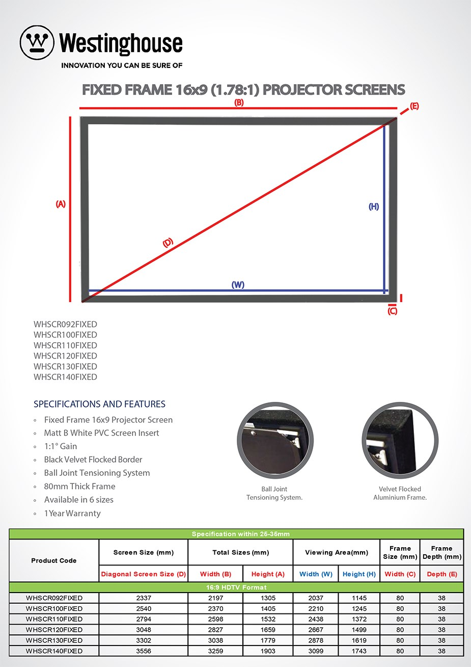 "Westinghouse 140"" Fixed Frame Projection Screen - Desktop Overview 4"