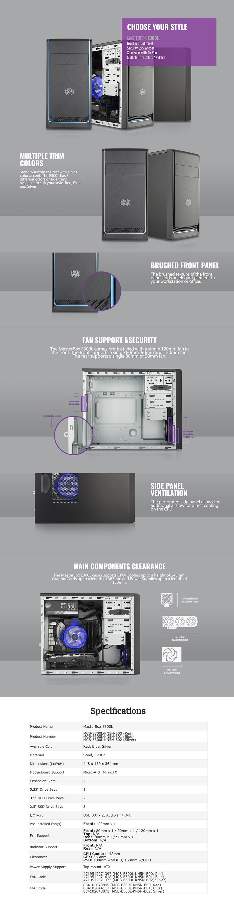Cooler Master MasterBox E300L Mini Tower M-ATX Case - Silver Trim - Desktop Overview 1