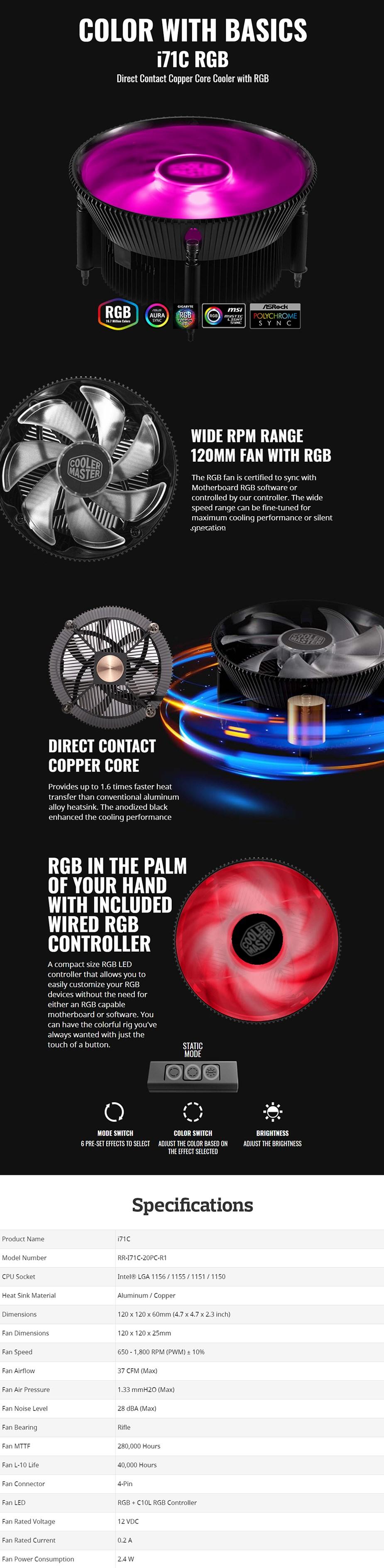 Cooler Master i71C RGB Intel CPU Cooler - Desktop Overview 1