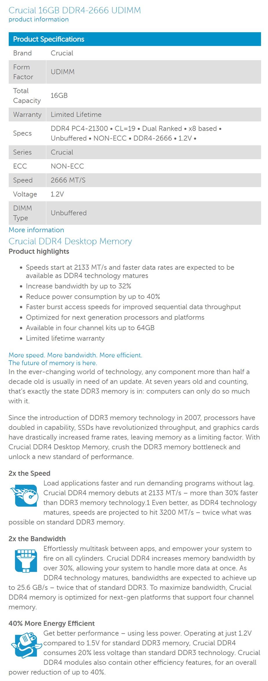 Crucial 16GB (1x 16GB) DDR4 2666MHz U-DIMM Desktop Memory - Desktop Overview 1