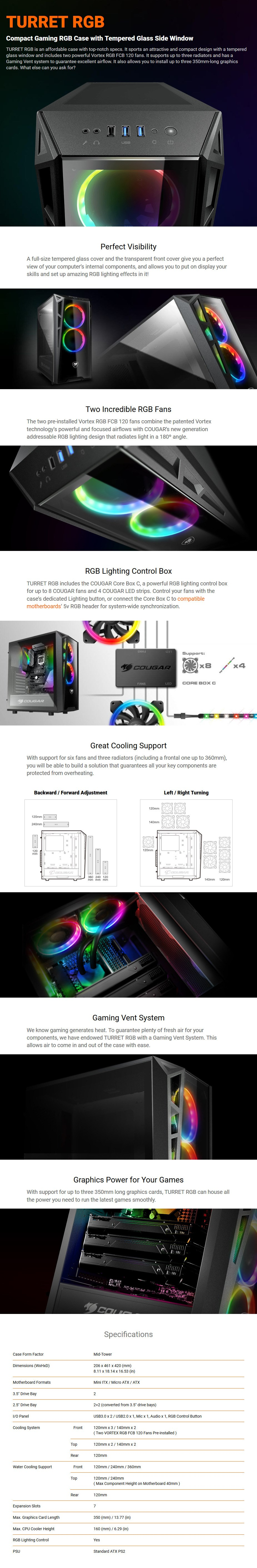 Cougar Turret RGB Tempered Glass Mid-Tower ATX Case - Desktop Overview
