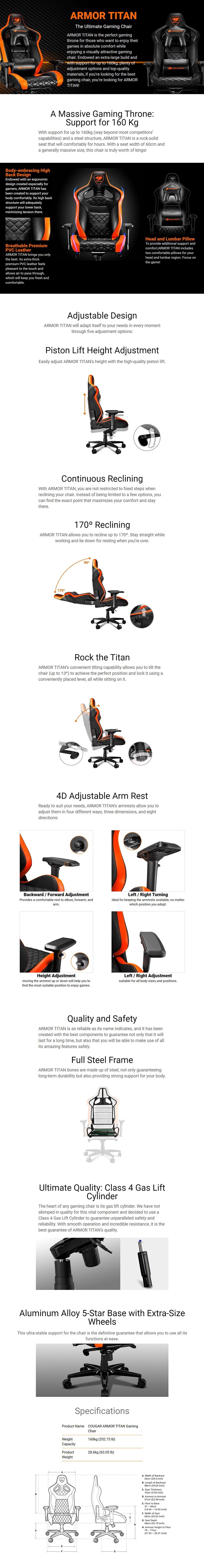 Cougar Armor Titan Gaming Chair - Black/Orange - Desktop Overview 1