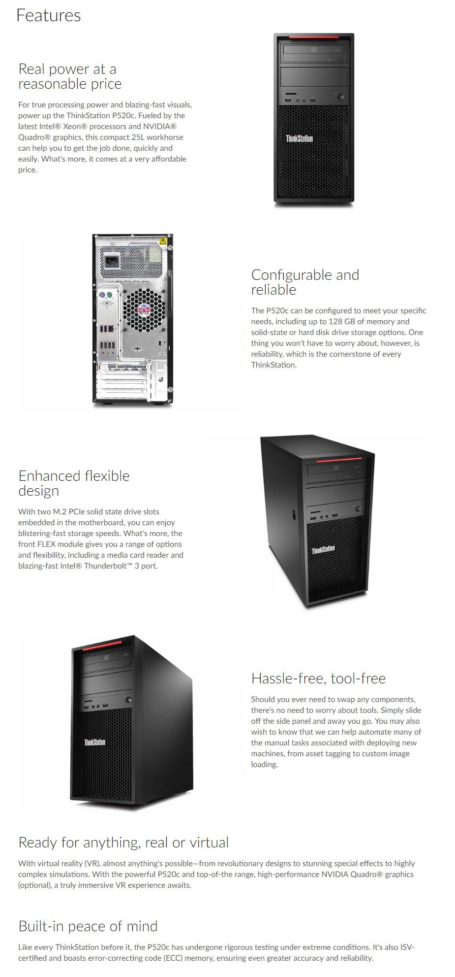 Lenovo ThinkStation P520C Tower Workstation Xeon W-2133 32GB 1TB P4000 Win10 Pro - Desktop Overview 1