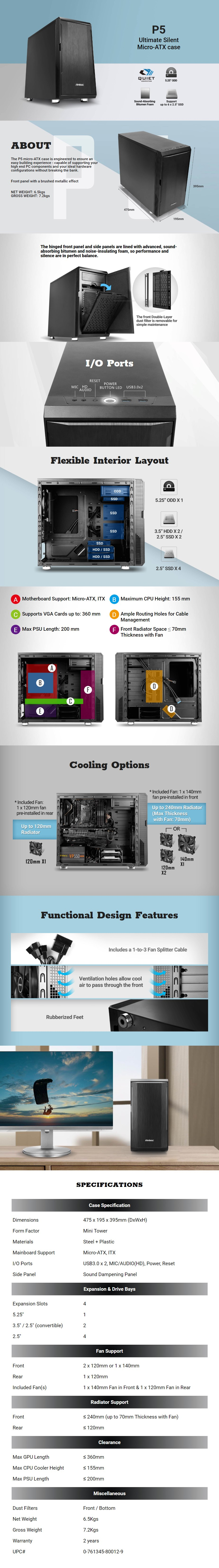 Antec P5 Ultimate Silent Mini-Tower Micro-ATX Case - Desktop Overview 1