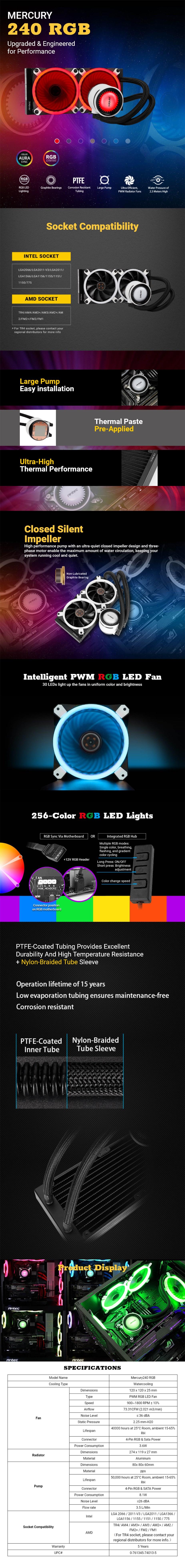 Antec Mercury RGB 240 Liquid CPU Cooler - Desktop Overview 1