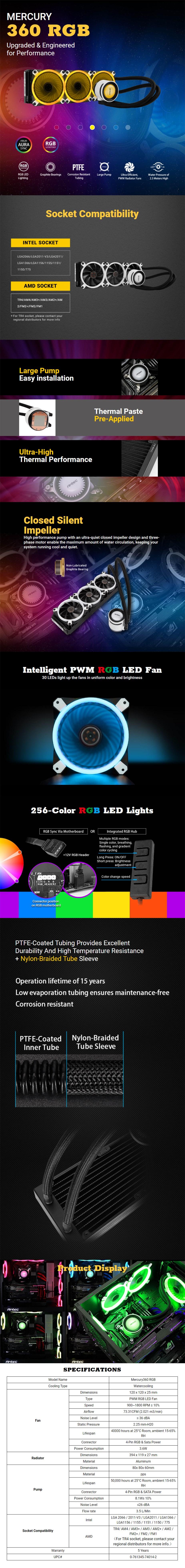 Antec Mercury RGB 360 Liquid CPU Cooler - Desktop Overview 1