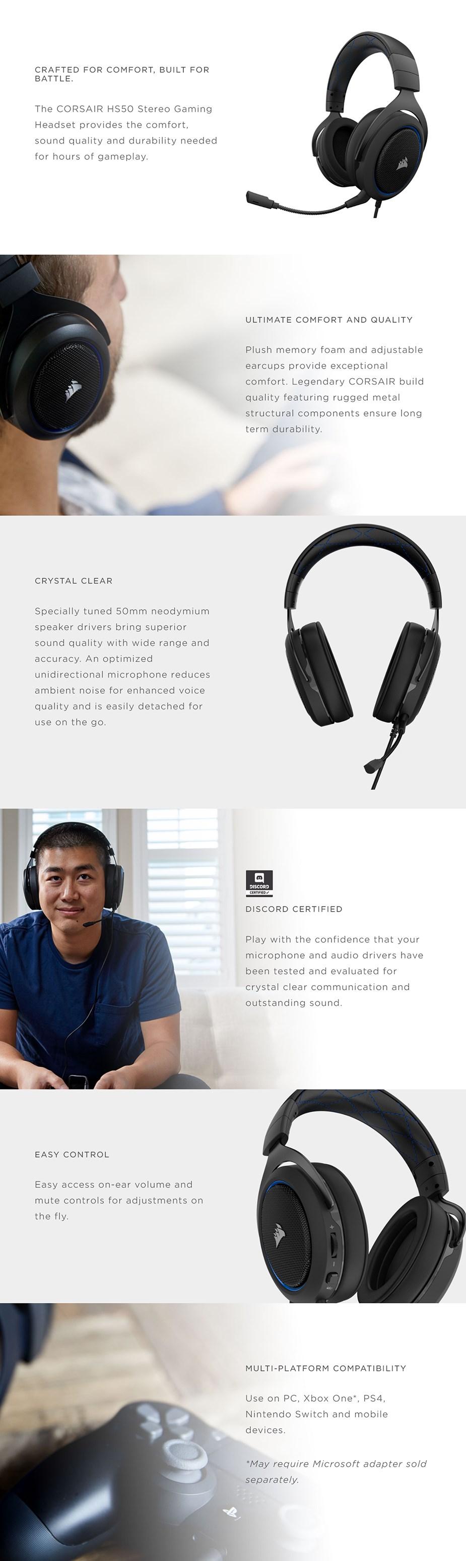 Corsair HS50 Stereo Gaming Headset - Blue - Desktop Overview 1