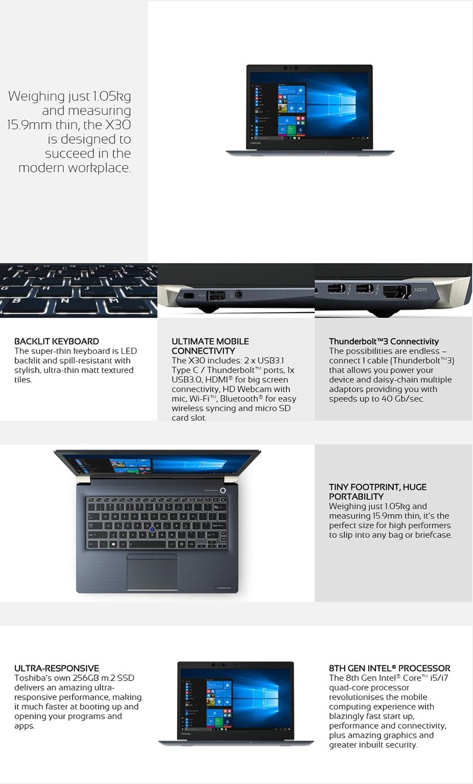 "Toshiba Portege X30 13.3"" Notebook i5-8250U 8GB 256GB Win10 Pro Touch - Desktop Overview 2"