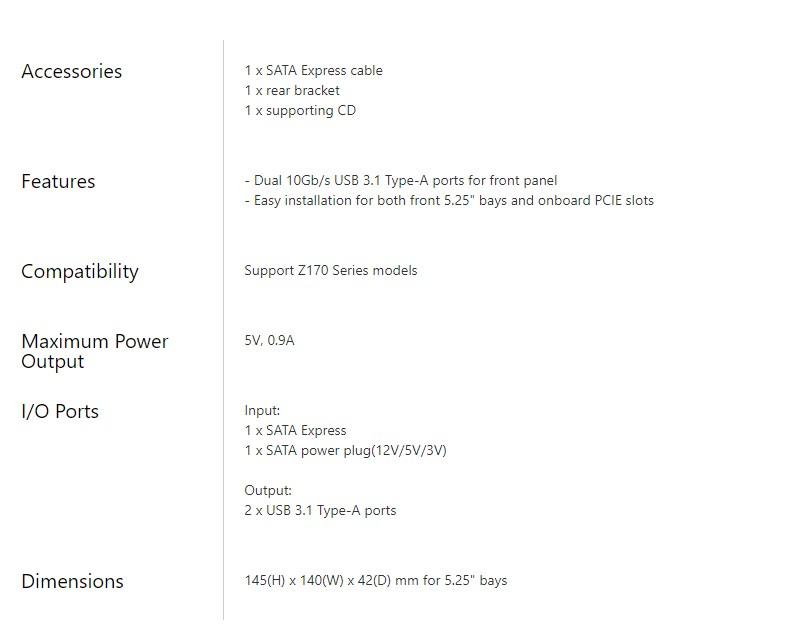 Asus USB 3.1 Type-A Front Panel - Desktop Overview 2