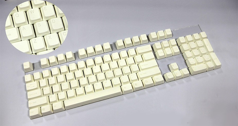 Tai-Hao MX Switch Type Doubleshot ABS 1-Tone 104-Key Keycap Set - Snow White - Desktop Overview