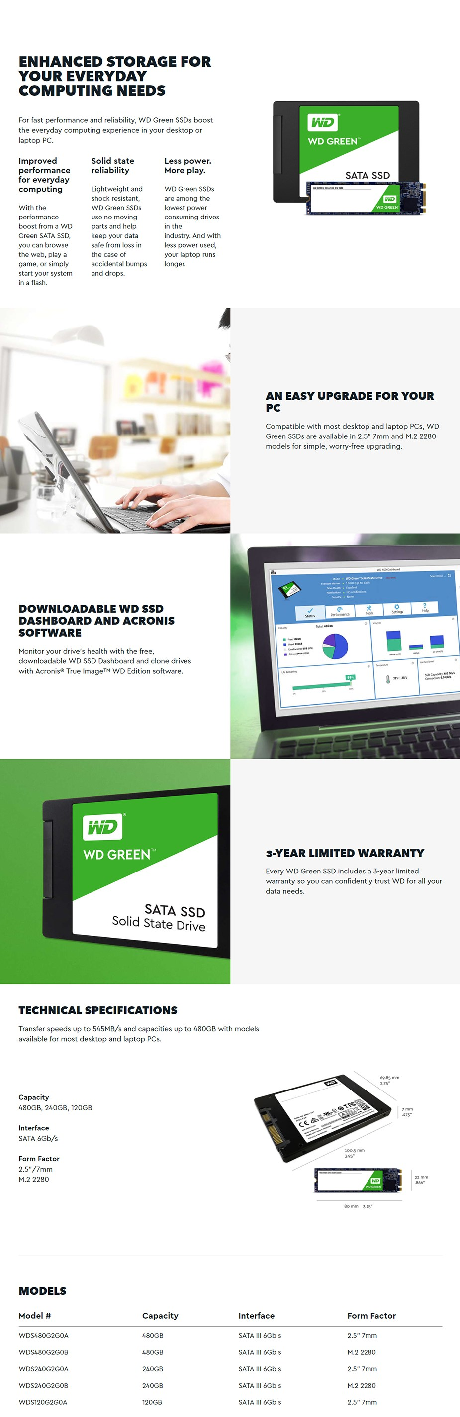 WD Green 480GB 3D NAND M.2 SSD WDS480G2G0B - Desktop Overview