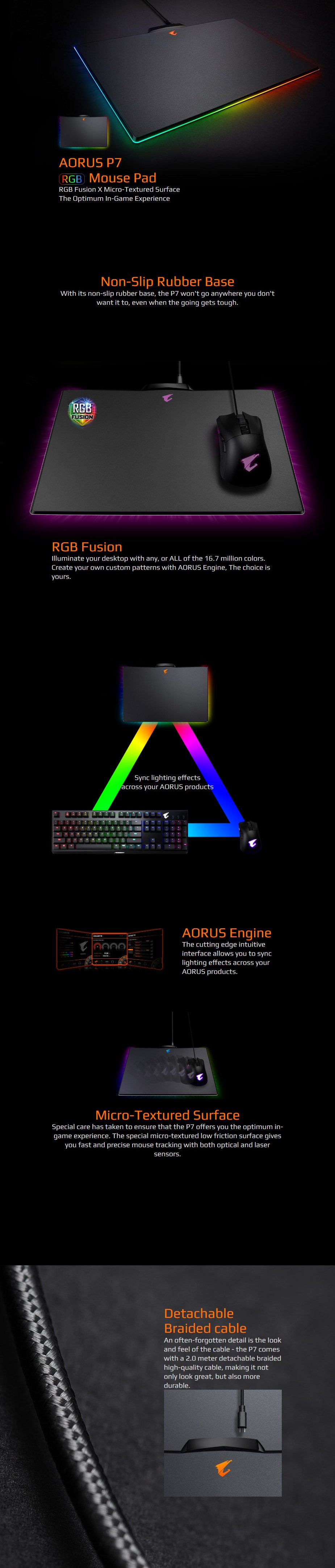 Gigabyte AORUS P7 RGB Fusion Hard Gaming Mouse Pad - Desktop Overview 1