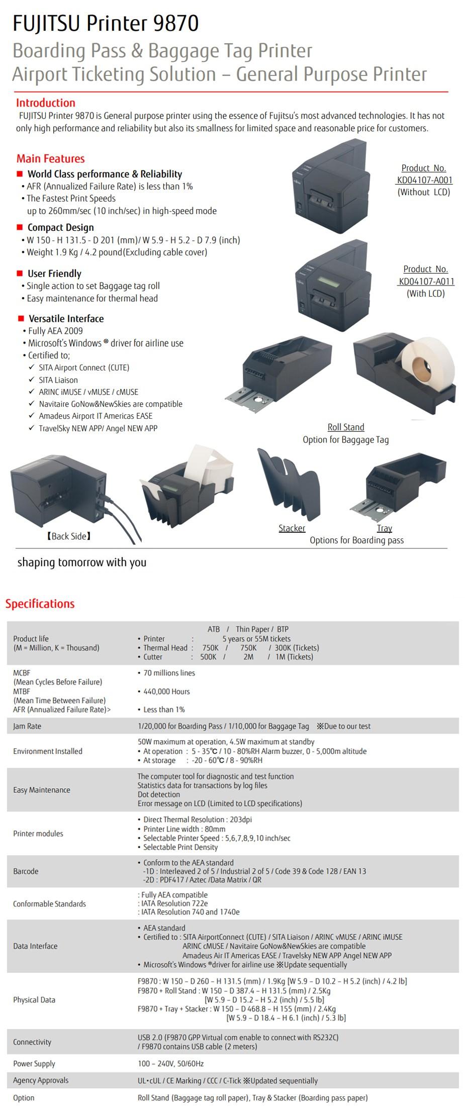 Fujitsu F9870 Compact Boarding Pass & Baggage Tag Printer - Desktop Overview 1
