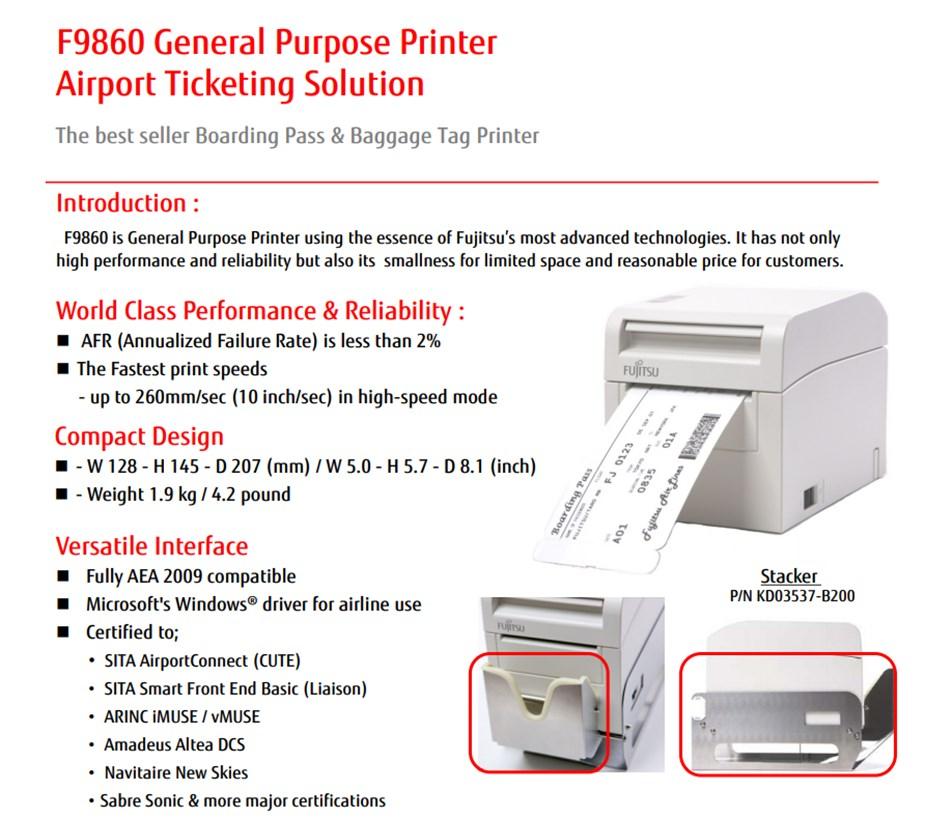 Fujitsu F9860 Compact Boarding Pass & Baggage Tag Printer - Desktop Overview 1