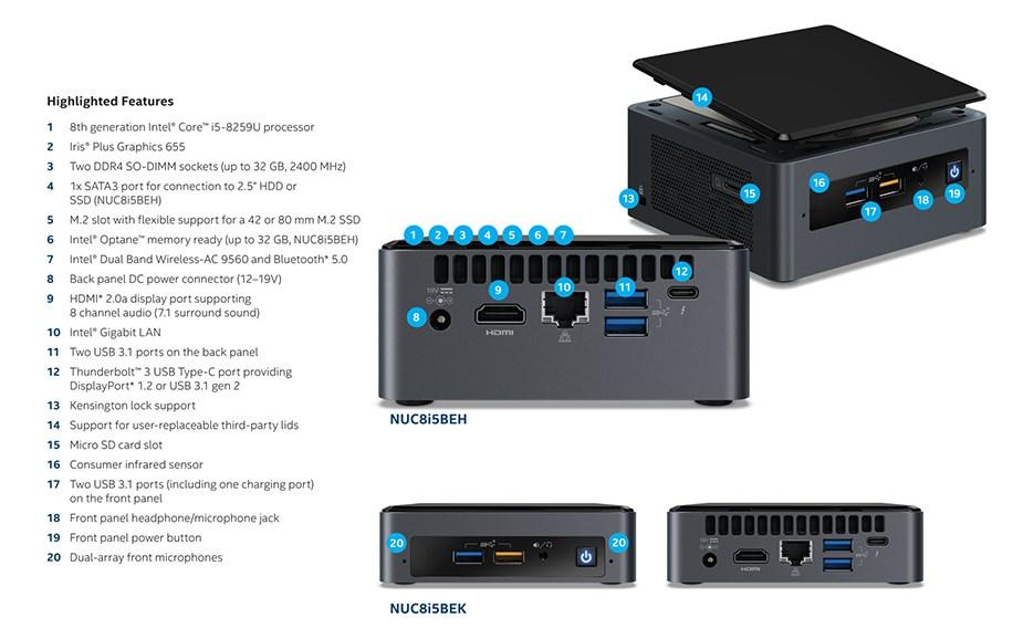Intel BOXNUC8I5BEK NUC Barebone Kit - Core i5 8th Gen - Desktop Overview 2