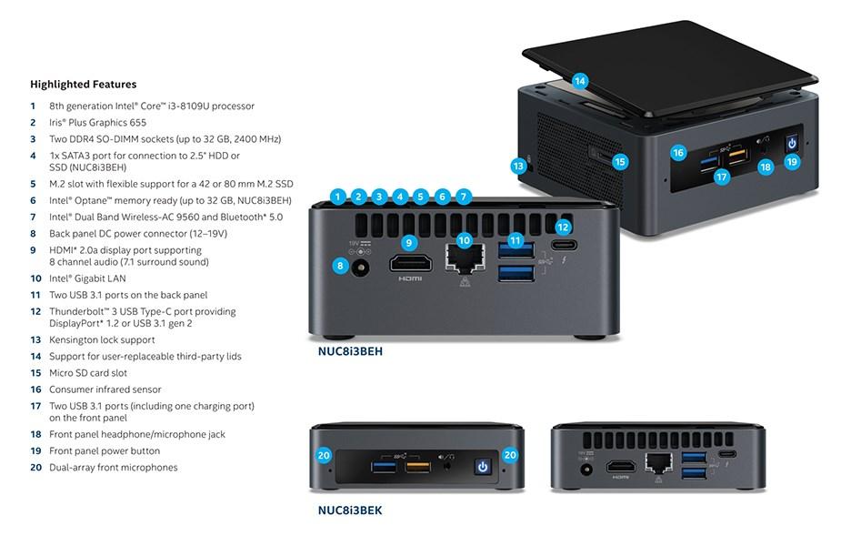 Intel BOXNUC8I3BEK NUC Barebone Kit - Core i3 8th Gen - Desktop Overview 2