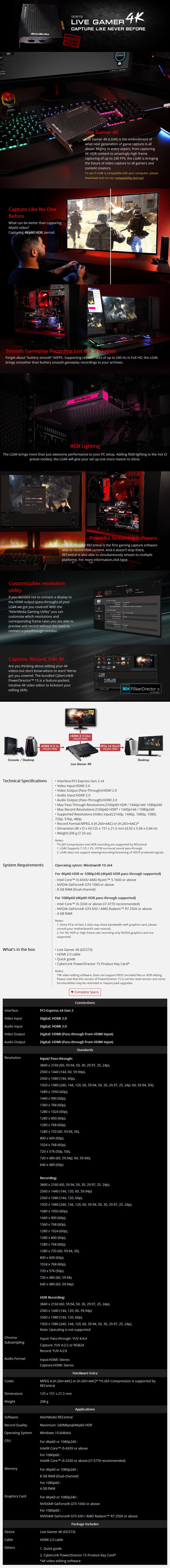 AVerMedia GC573 Live Gamer 4K Capture Device - Desktop Overview