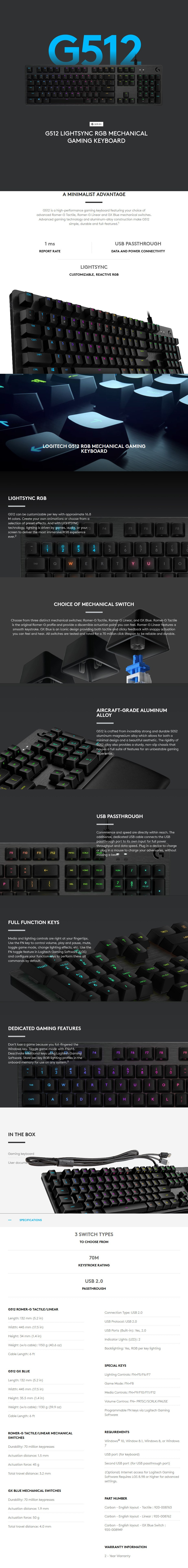 Logitech G512 Carbon RGB Mechanical Gaming Keyboard - GX Blue Switch - Desktop Overview