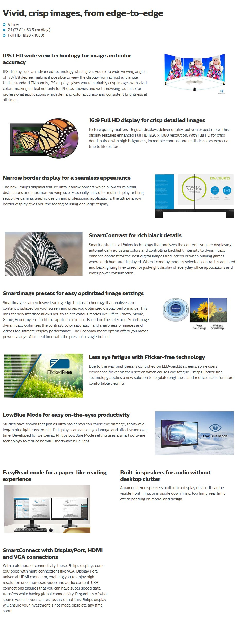 """Philips V Line 23.8"""" 243V7QJAB Full HD IPS LED Monitor - Desktop Overview 1"""