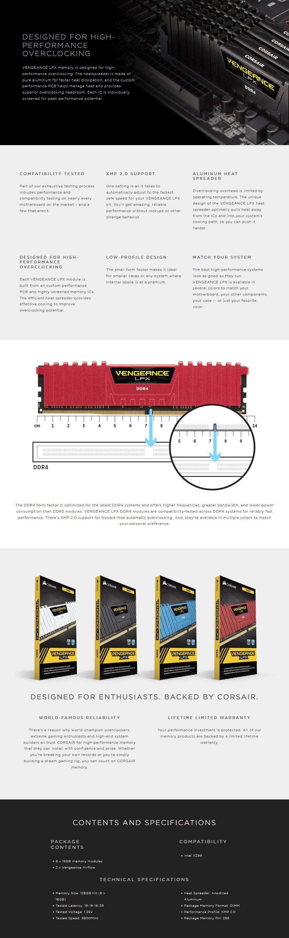 Corsair Vengeance LPX 128GB (8x 16GB) DDR4 3800MHz Memory - Desktop Overview 1