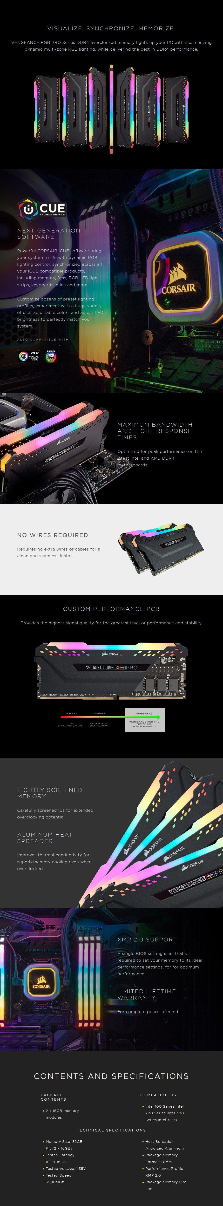 Corsair Vengeance RGB PRO 32GB (2x 16GB) DDR4 3200MHz Memory - Black - Desktop Overview