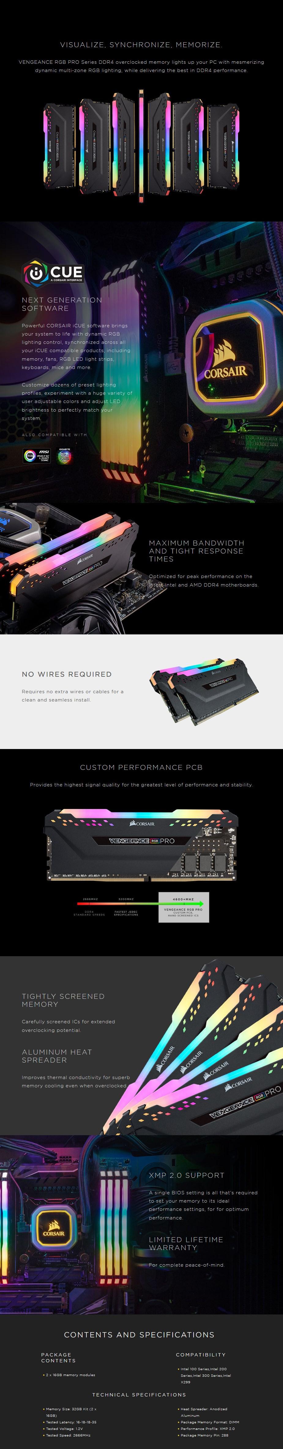 Corsair Vengeance RGB PRO 32GB (2x 16GB) DDR4 2666MHz Memory - Black - Desktop Overview