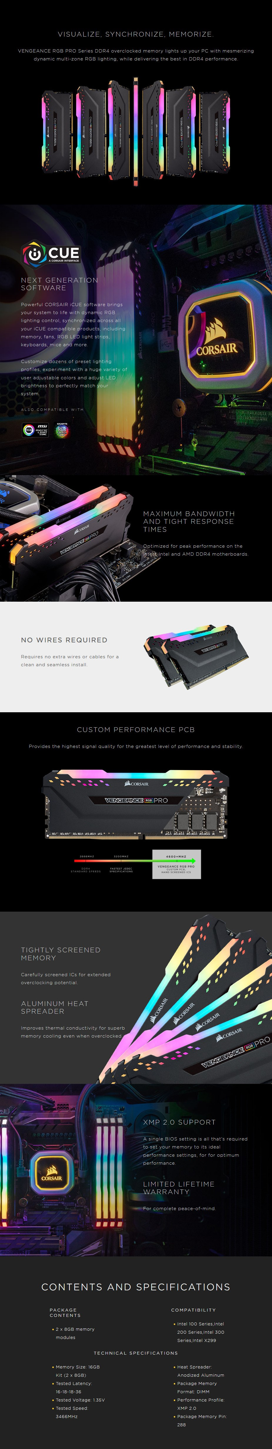 Corsair Vengeance RGB PRO 16GB (2x 8GB) DDR4 3466MHz Memory - Black - Desktop Overview