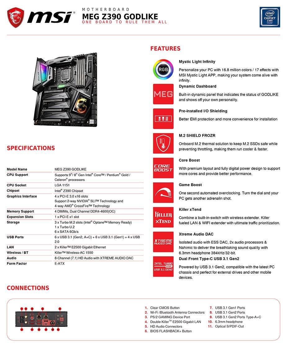 MSI MEG Z390 GODLIKE LGA 1151 E-ATX Motherboard - Desktop Overview 2