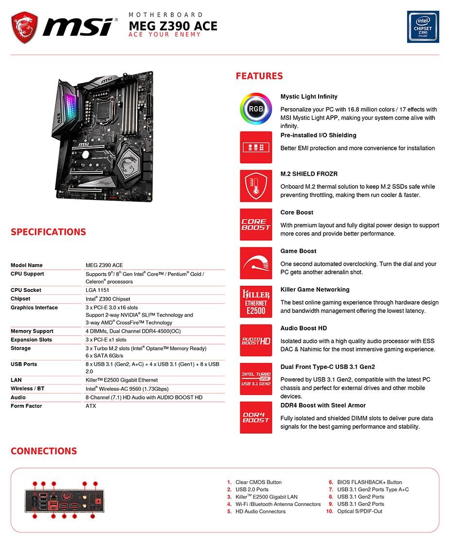 MSI MEG Z390 ACE LGA 1151 ATX Motherboard - Desktop Overview 2