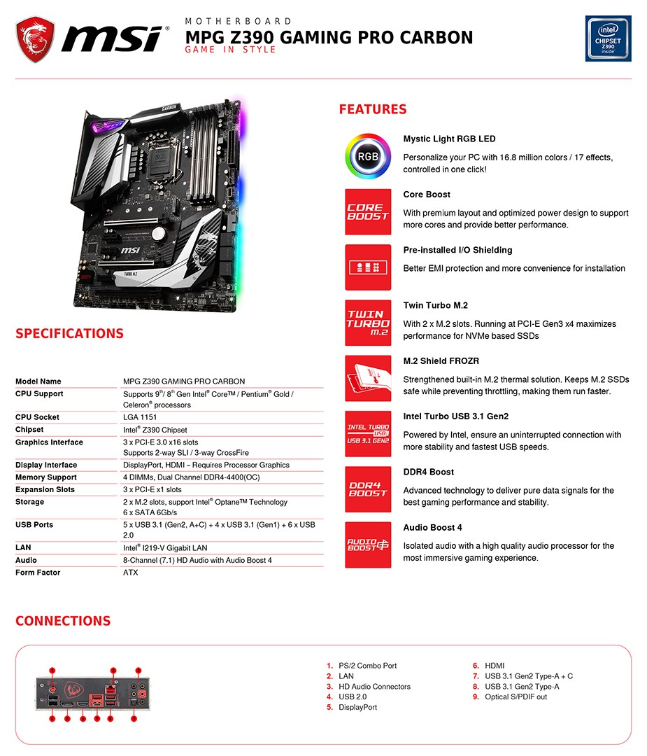 MSI MPG Z390 GAMING PRO CARBON LGA 1151 ATX Motherboard - Desktop Overview 2