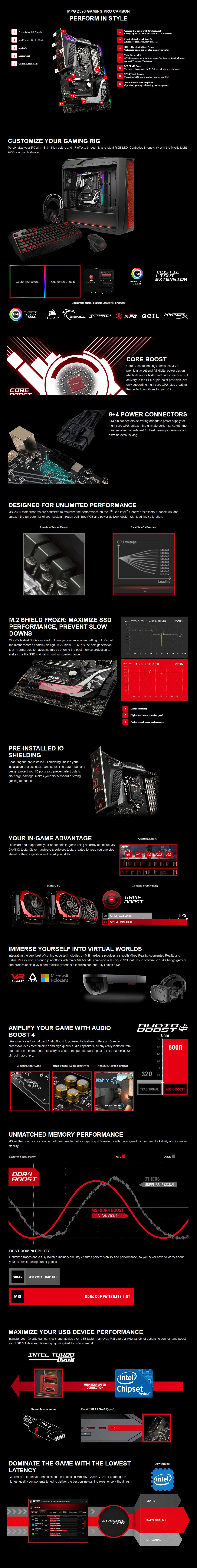 MSI MPG Z390 GAMING PRO CARBON LGA 1151 ATX Motherboard - Desktop Overview 1