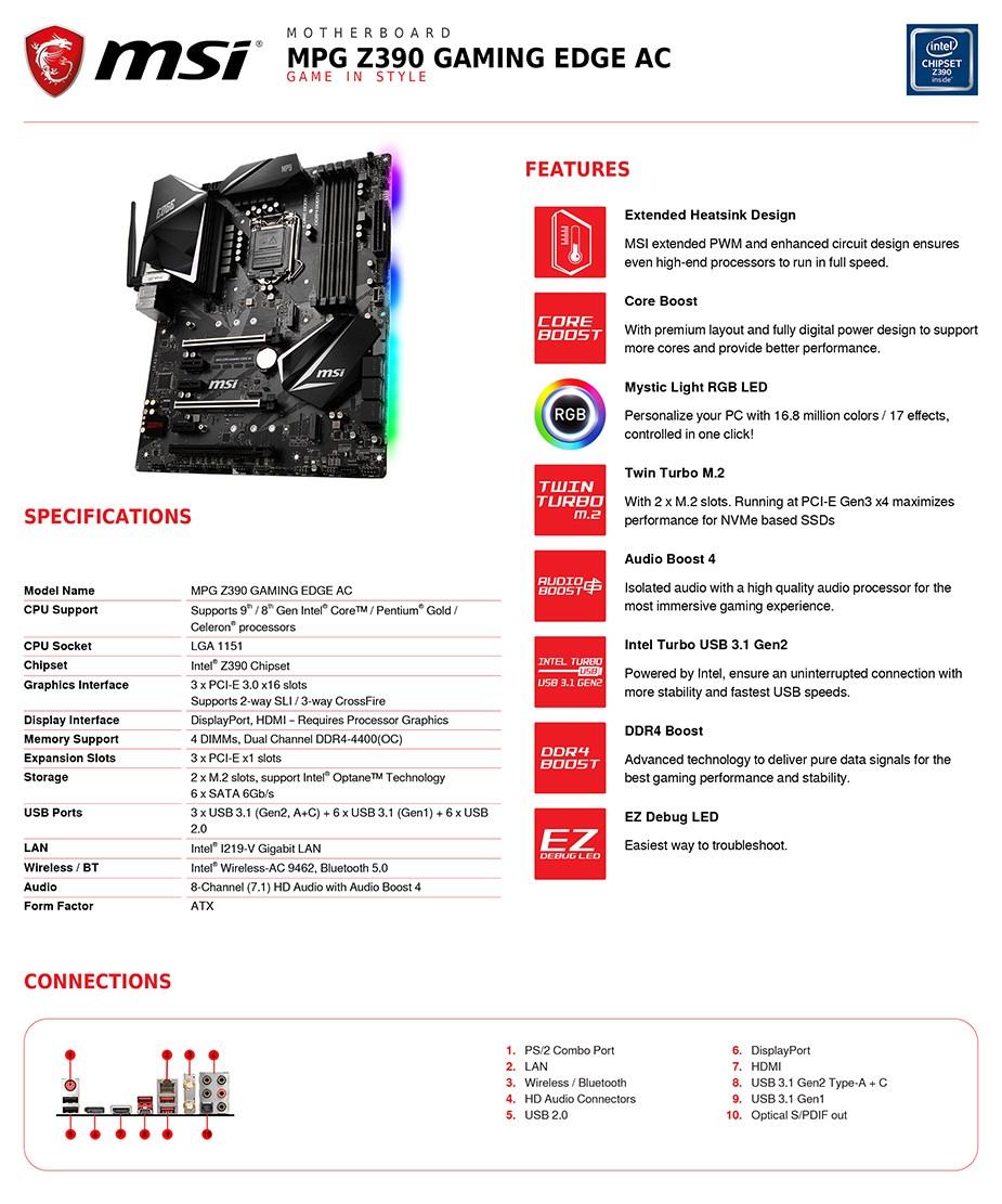 MSI MPG Z390 GAMING EDGE AC LGA 1151-2 ATX Motherboard - Desktop Overview 2