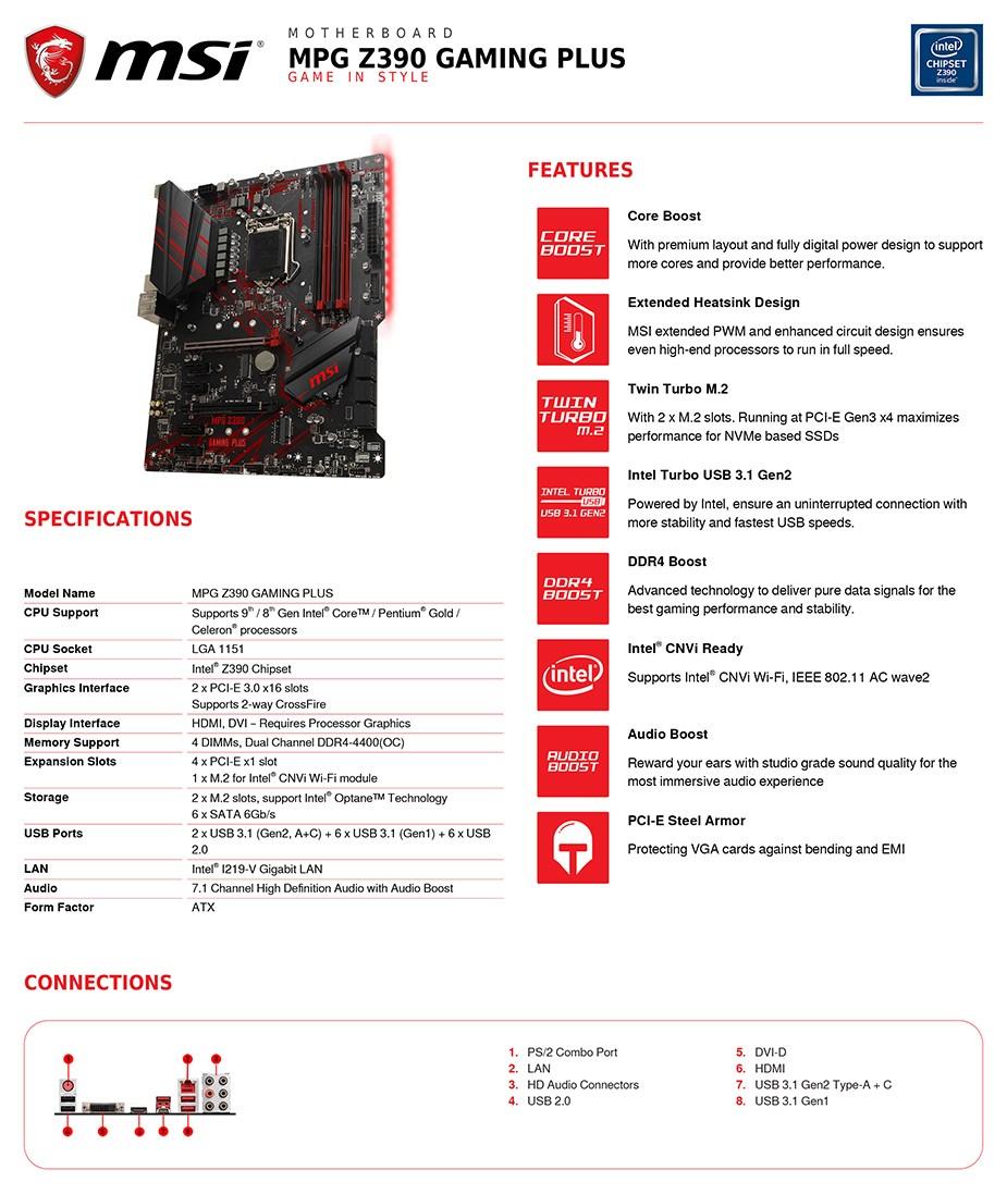 MSI MPG Z390 GAMING PLUS LGA 1151 ATX Motherboard - Desktop Overview 2